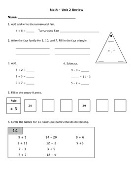 Everyday Math - Unit 2 Review Worksheet