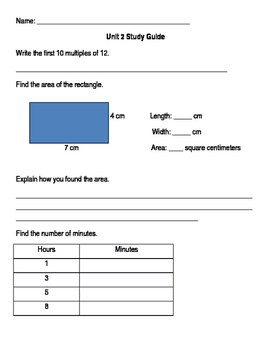 Everyday Math Unit 2 Study Guide