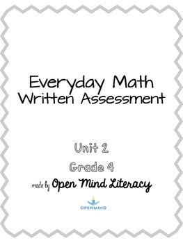 Everyday Math Unit 2 Test Assessment