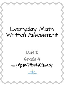 Everyday Math Unit 2 Test Assessment