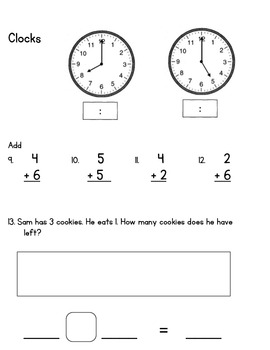 Everyday Math Unit 2 Test First Grade