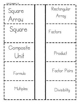 Everyday Math Unit 2 Vocabulary Interactive Notebook