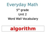 Everyday Math Unit 2 Vocabulary Word Wall