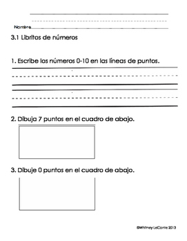 Everyday Math-Unit 3 Kindergarten Exit Slips in Spanish