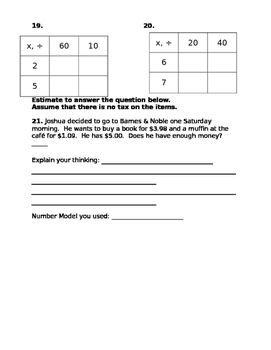 Everyday Math Unit 7 Practice Test (Grade 3)