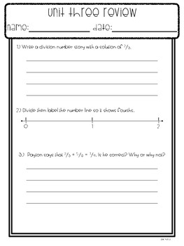 Everyday Math Unit 3 Review Fraction Concepts, addition and subtraction