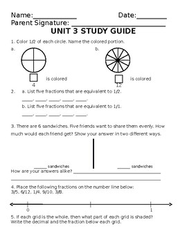 Everyday Math Unit 3: Study Guide