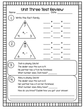 Everyday Math Unit 3 Test Review Second Grade