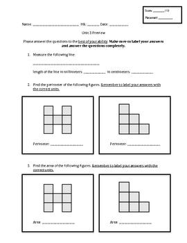 Everyday Math Unit 3 - Third Grade Pretest by Courtney | TpT