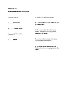 Everyday Math Unit 3 Vocabulary