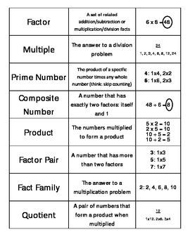 Everyday Math Unit 3 Vocabulary Cards - Grade 4