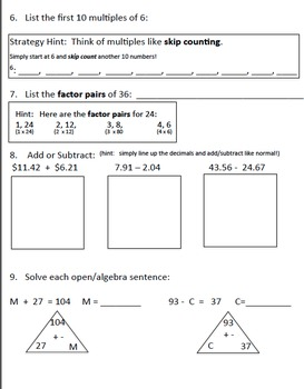 Everyday Math Unit 4 Assessment:: Study Guide/Pre-Test/Practice Test