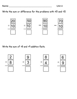 Everyday Math Unit 4 Test First Grade 6 pages