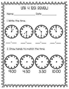 Everyday Math Unit 4 Test Review Second Grade