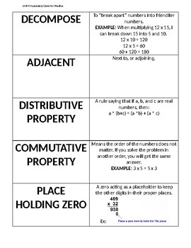 Everyday Math Unit 4: Vocabulary Cards