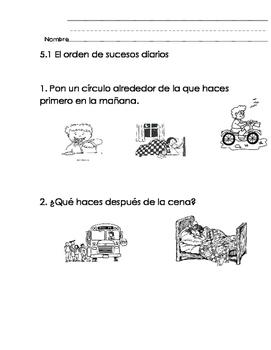 Everyday Math-Unit 5 Kindergarten Exit Slips in Spanish