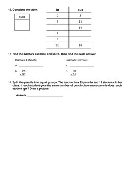 Everyday Math - Unit 5 Review Worksheet