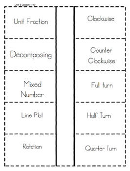 Everyday Math Unit 5 Vocabulary Interactive Notebook