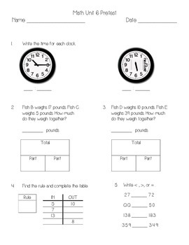 Everyday Math Unit 6 Pretest