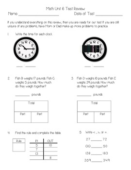 Everyday Math Unit 6 Review