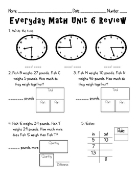 Everyday Math Unit 6 Review By Amanda Olson Teachers Pay Teachers
