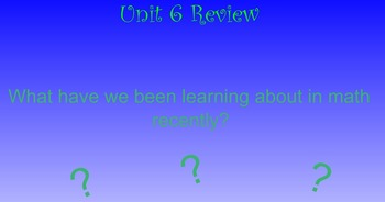 Everyday Math Unit 6 Review Activities for First Grade