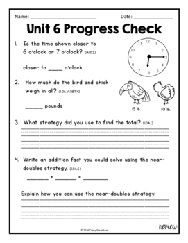 Everyday Math Unit 6 Review, Homework, Test (Common Core Aligned)