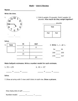 Everyday Math - Unit 6 Review Worksheet