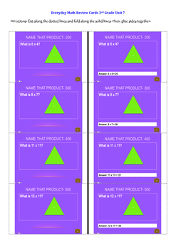 Everyday Math Unit 7 Flashcards Grade 3