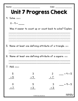 Everyday Math Unit 7 Review, Homework, Test (Common Core Aligned)
