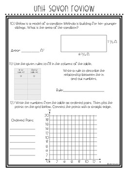 Everyday Math Unit 7 Review: Multiplying Mixed Numbers, Geometry, Graphs