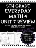 Everyday Math Unit 7 Review Multiplying Mixed Numbers, Geo