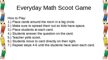 Everyday Math Unit 7 Review Scoot Game