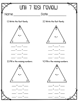 Everyday Math Unit 7 Test Review 1st Grade