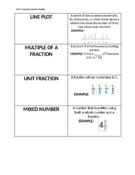 Everyday Math Unit 7: Vocabulary Cards