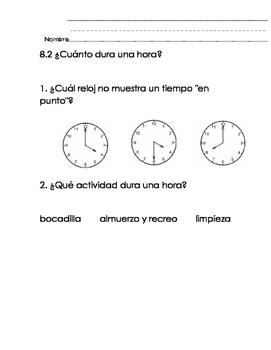 Everyday Math-Unit 8 Kindergarten Exit Slips in Spanish