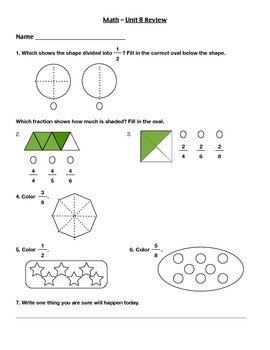 Everyday Math - Unit 8 Review Worksheet