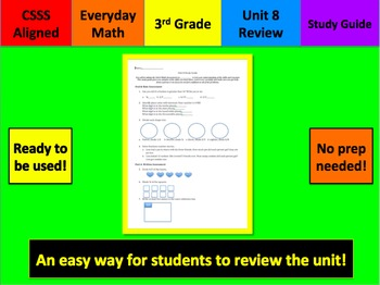 Everyday Math Unit 8 Study Guide Grade 3
