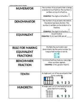 Everyday Math Unit 8: Vocabulary Cards