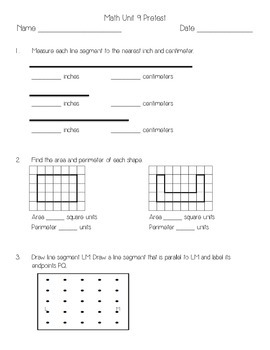 Everyday Math Unit 9 Pretest