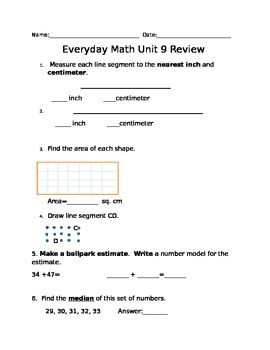Second Grade Everyday Math Unit 9 Review