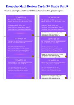 Everyday Math Unit 9 Review Cards Grade 3