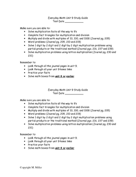 Everyday Math Unit 9 Review Packet for 3rd Grade