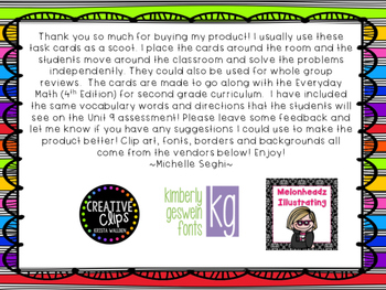 Everyday Math Unit 9 Task Cards (Scoot)