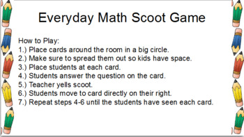 Everyday Math Units Review Scoot Bundle
