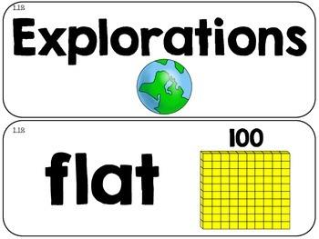 Math Vocabulary Cards-  Grade 2- Unit 1 of EDM4 {FREEBIE}