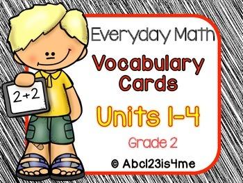 Math Vocabulary Cards- Grade 2- Units 1-4  of EDM4