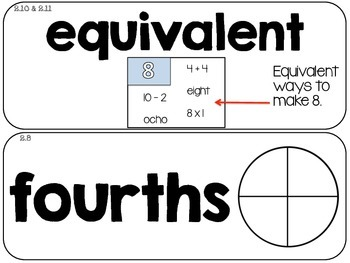 Math Vocabulary Cards- Grade 2- Units 1-4  of EDM4