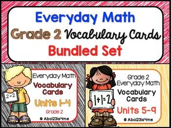 Math Vocabulary Cards - Grade 2-  Units 1-9  of EDM4