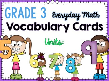 Math Vocabulary Cards- Units 5-9 {GRADE 3} - EDM4